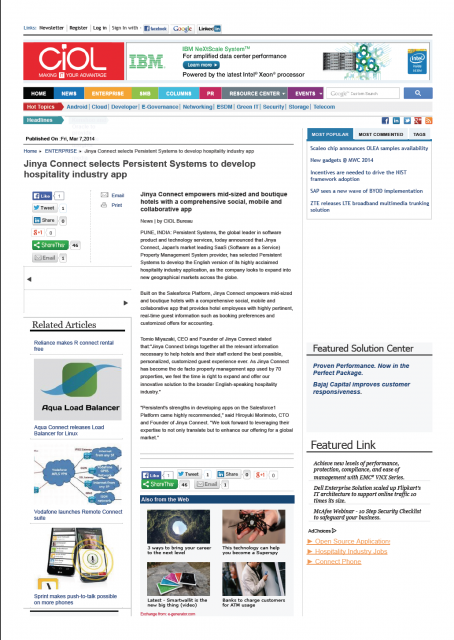 CIOL : Information Technology News / 朝日新聞デジタル (2014)に掲載されました。